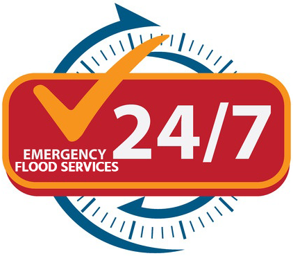 24/7 emergency flood services badge